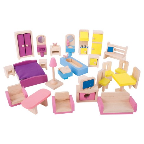 Bigjigs Toys Wooden Dollhouse Furniture Set Target