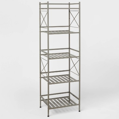 Square Tube 5 Tier Decorative Storage Cabinets Brushed Nickel - Threshold™