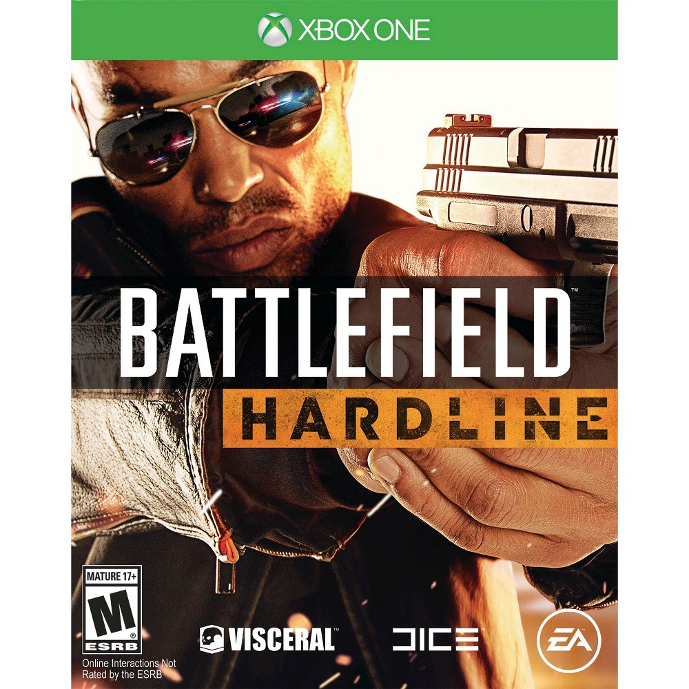 Battlefield: Hardline Pre-Owned Xbox One Cops and criminals meet in the epic game of Battlefield: Hardline (Xbox One) Pre-Owned - Ubi Soft. The game works for Xbox One consoles. The pre-owned video game is in like-new condition and is recommended for ages 17 and older.