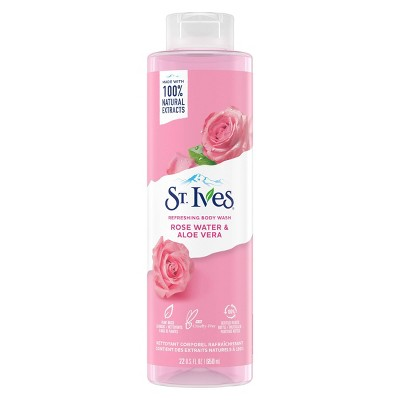 St. Ives Rose Water & Aloe Vera Plant-Based Natural Body Wash Soap - 22  fl oz