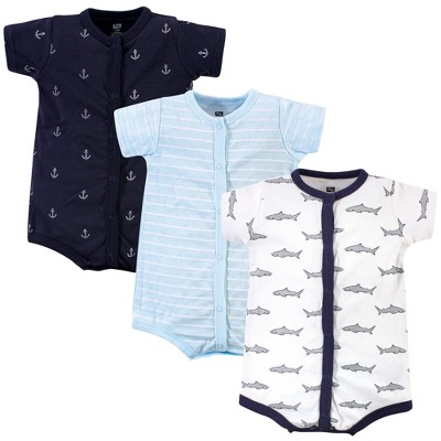 Hudson Baby Infant Boy Cotton Rompers 3pk, Gray Shark