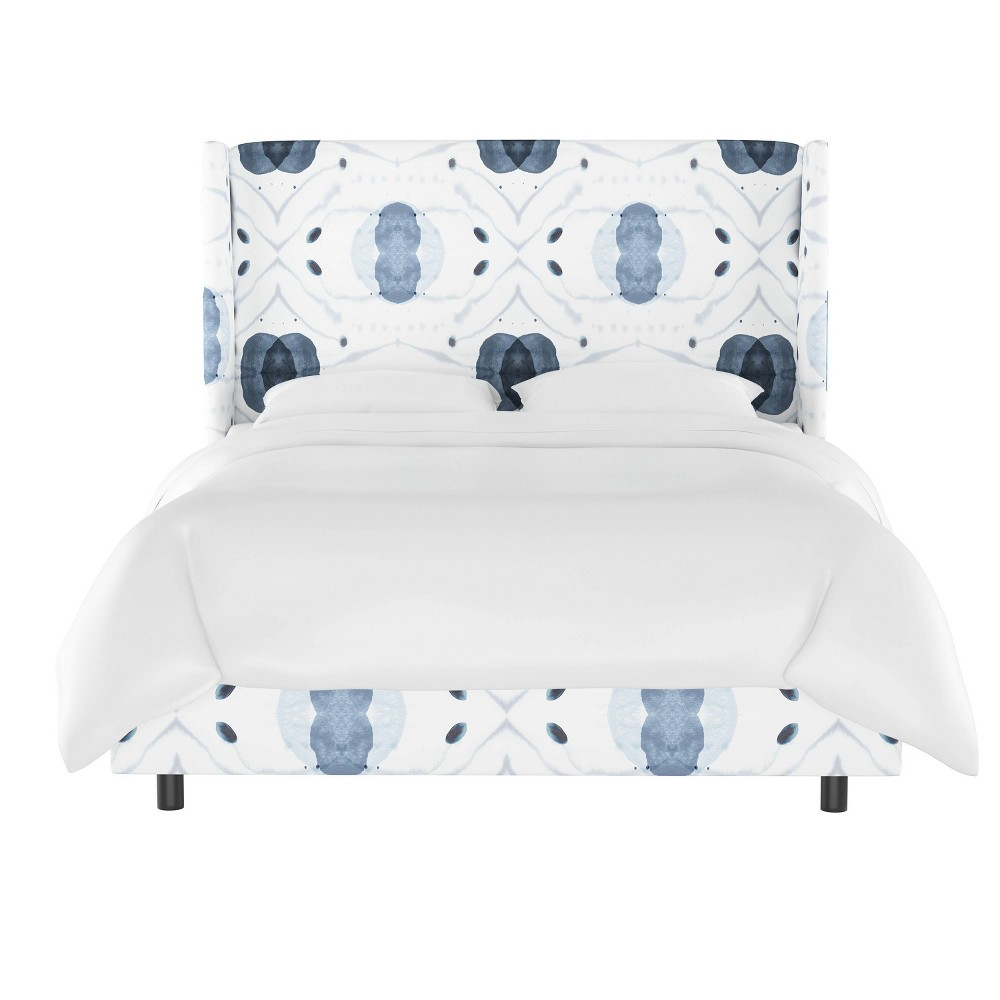 Laura Wingback Bed Full Delray Blue Skyline Furniture