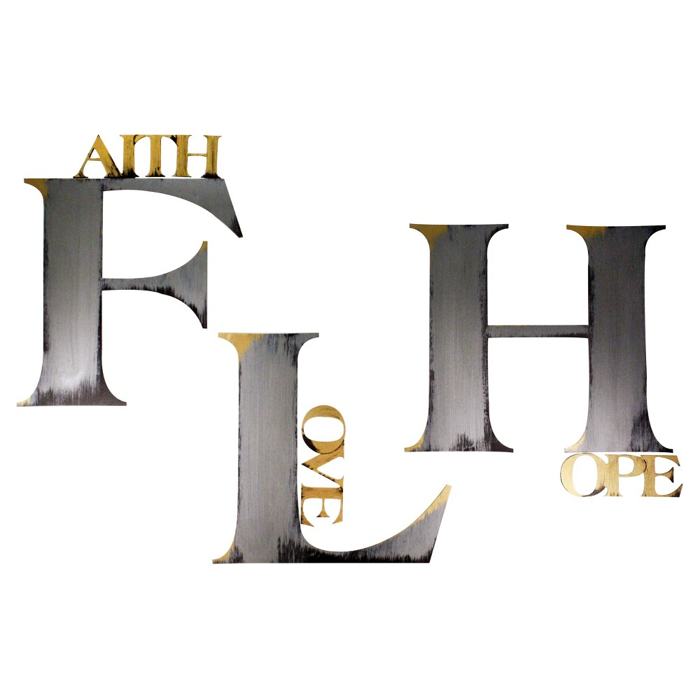 'Faith Hope Love' Hand Painted Dimensional Wall Words, Shiney Silver