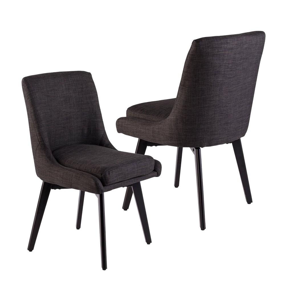 Set of 2 Siobhan Swivel Accent Chairs Charcoal Gray - Aiden Lane