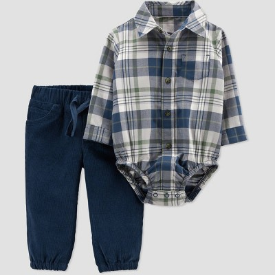 Baby Boys' 2pc Plaid Top & Bottom Set - Just One You® made by carter's Navy Newborn
