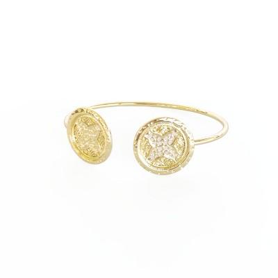 Sanctuary Project Round Rosette Medallion Coin Cuff Bracelet Gold
