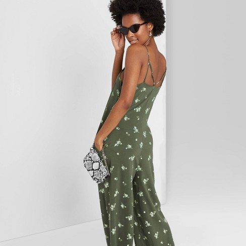 Women's Floral Print Sleeveless Square Neck Strappy Waistless Jumpsuit - Wild Fable™ Olive Green  - image 1 of 3