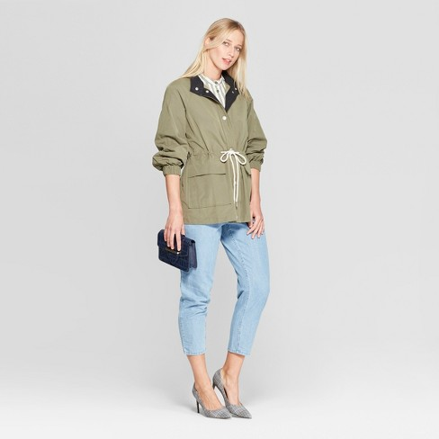 a330b8a49ee Women s Duo Front Pocket Button Snap Detail Stand Collar Utility Anorak  Jacket - Who What Wear™ Green   Target