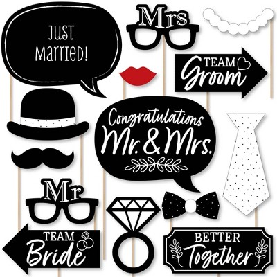Big Dot of Happiness Mr. and Mrs. - Black and White Wedding or Bridal Shower Photo Booth Props Kit - 20 Count