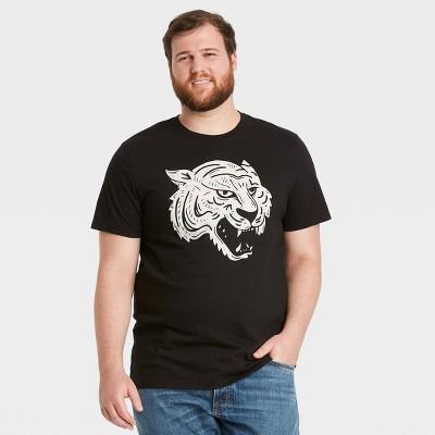 Men's Big & Tall Printed Relaxed Fit Short Sleeve Crewneck T-Shirt - Goodfellow & Co™ Black