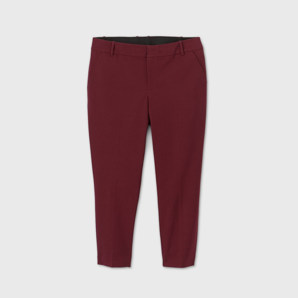 Women 39 S Plus Size Mid Rise Ankle Length Pants Ava 38 Viv 8482 Red 26w