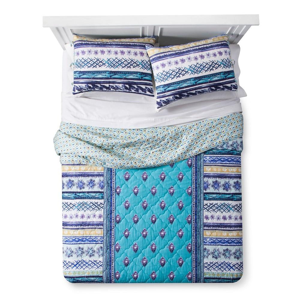 Turquoise Stripe Jewel Dream Reversible Quilt Set (Twin Extra Long) 2-pc - Boho Boutique, Multicolored