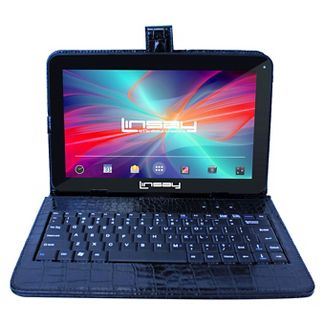 "LINSAY 10.1"" Quad Core Tablet with Black Crocodile Style Keyboard Case 32GB"