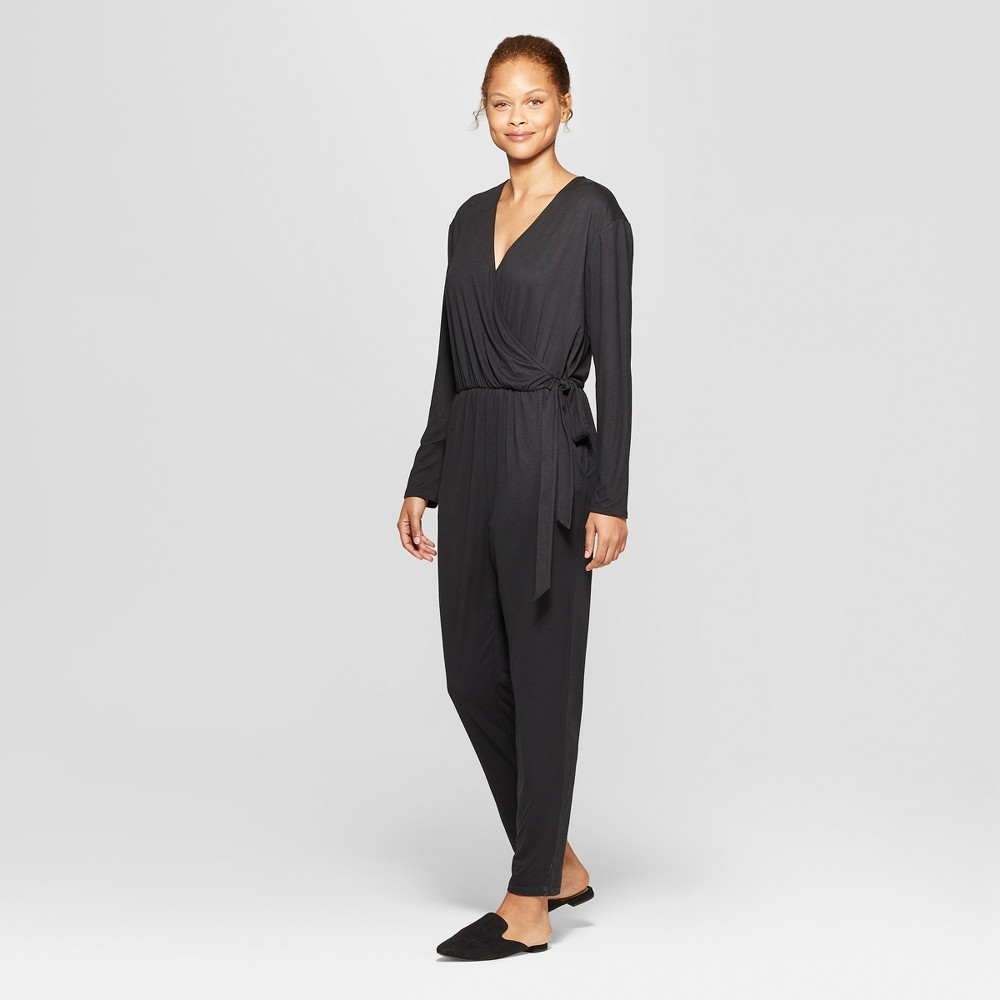 Women's Long Sleeve Knit Wrap Jumpsuit - Prologue Black S