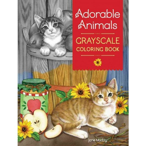 Adorable Animals Grayscale Coloring Book Paperback Jane Maday