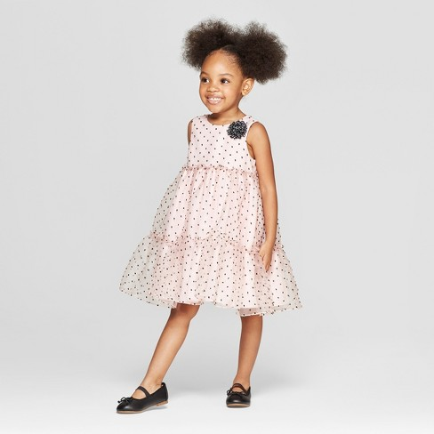 5d7585ae33b39 Toddler Girls' Clip Dot A Line Dress - Cat & Jack™ Light Pink : Target