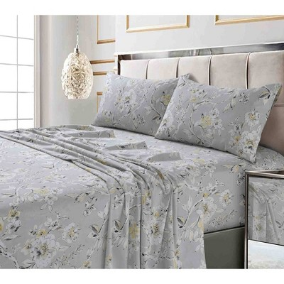 Queen 300 Thread Count Printed Pattern Sateen Sheet Set Silver Gray Colmar - Tribeca Living