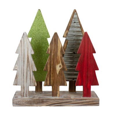 """Northlight 15"""" Multi-Color Wooden Christmas Tree Tabletop Decoration"""