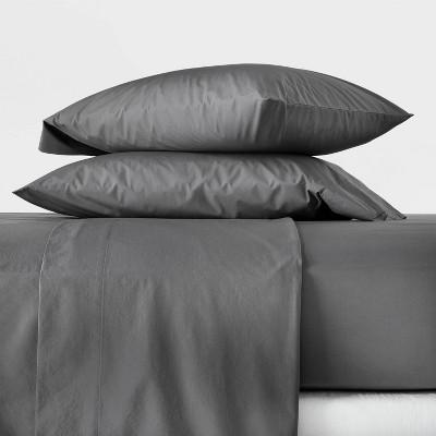 King Washed Supima Percale Solid Sheet Set Dark Gray - Casaluna™