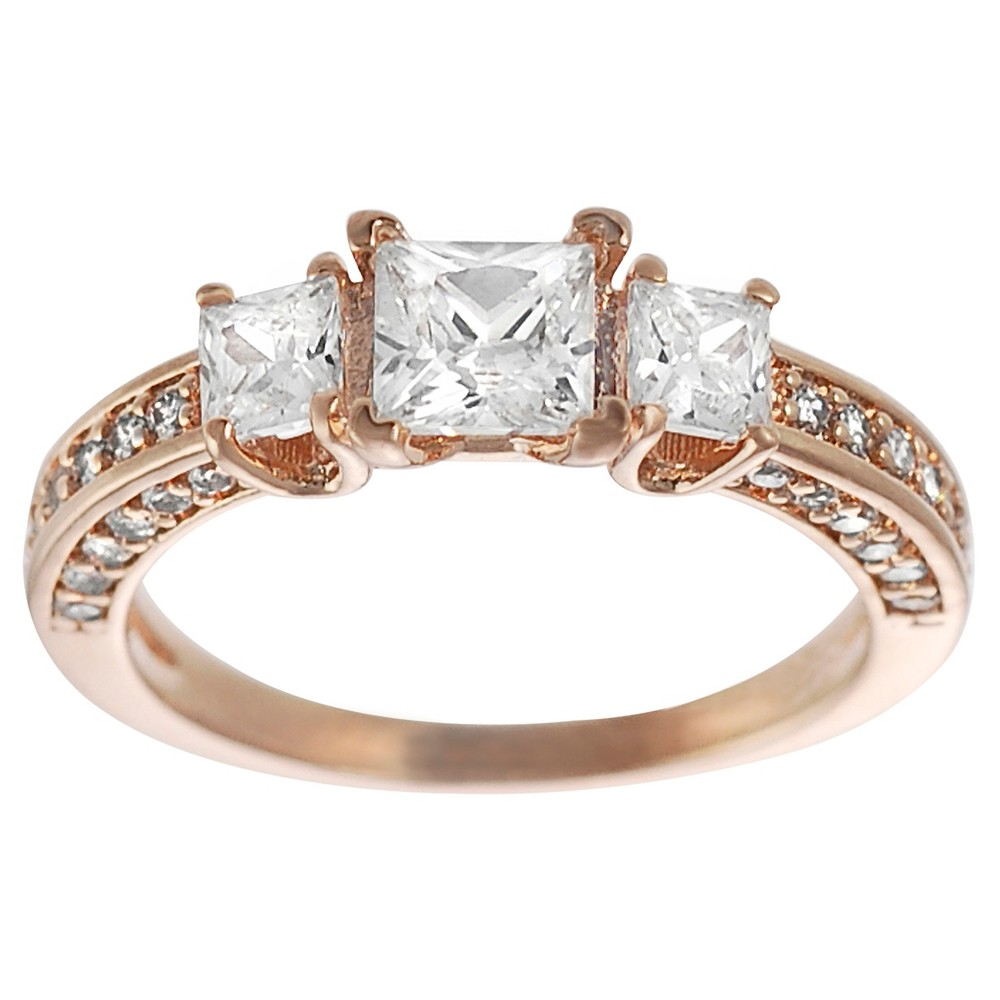 1 3/8 CT. T.W. Square-cut CZ Prong Set Engagement Ring in Rose Gold-plated Sterling Silver - Rose Gold, 6, Girl's, Pink
