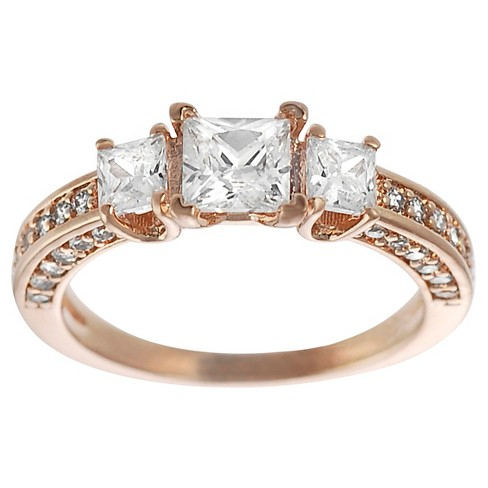 1 3/8 CT. T.W. Square-cut CZ Prong Set Engagement Ring in Rose Gold-plated Sterling Silver - Rose Gold - image 1 of 4