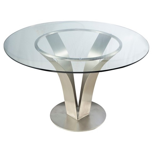 Cleo Contemporary Dining Table Stainless Steel/Clear Glass - Armen Living - image 1 of 3