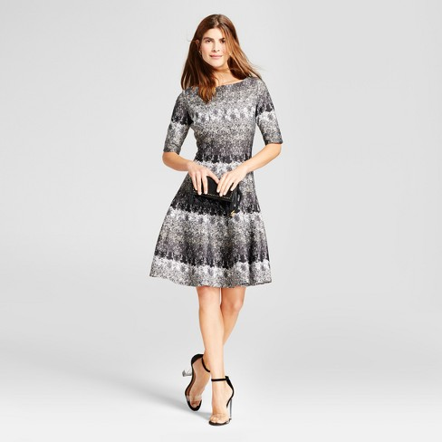 Women's Printed Elbow Sleeve Scuba Dress - Melonie T - image 1 of 2