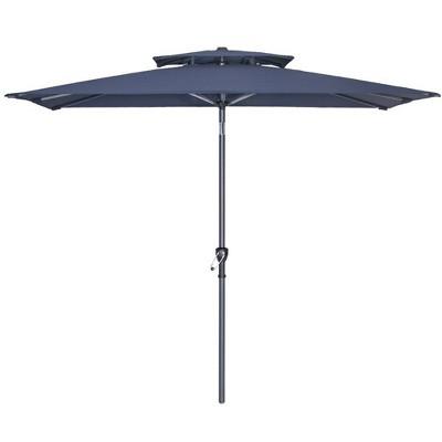 10' x 6.5' Rectangular Double Top Market Umbrella with Crank System & Push Button Tilt - Crestlive Products