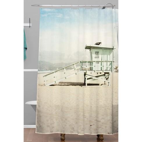 Venice Beach Tower Shower Curtain Green