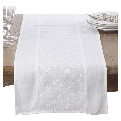 "White Embroidered Floral Design Table Runner (16""x72"")- Saro Lifestyle"