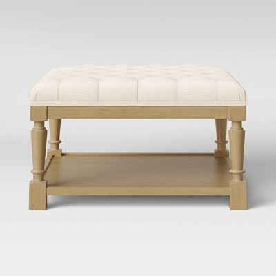Belhaven Tufted Cocktail Ottoman with Wood Legs Cream - Threshold™