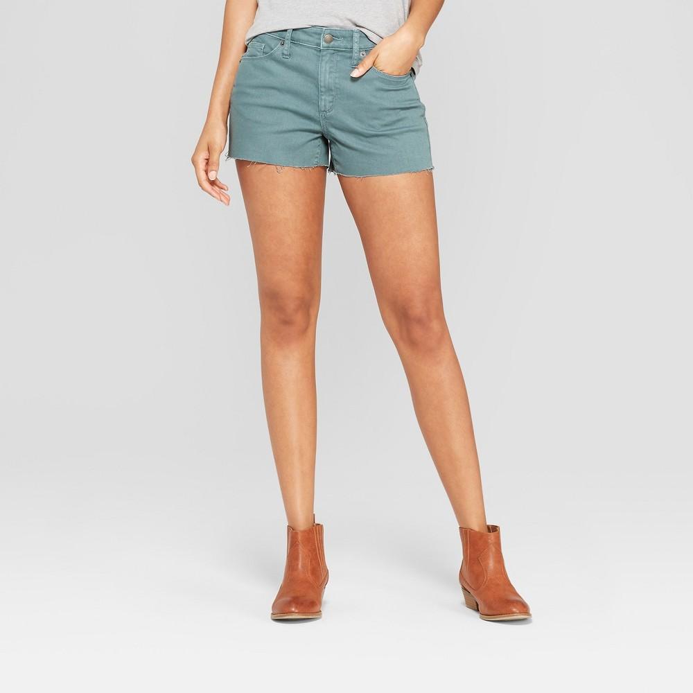 Women's High-Rise Shortie Jean Shorts - Universal Thread Green 0