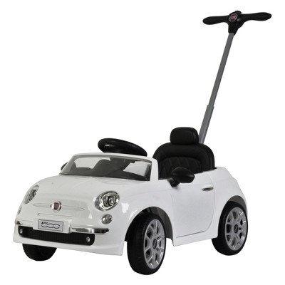 Best Ride On Cars 2-in-1 Fiat 500 Baby Toddler Toy Push Vehicle Stroller with LED Lights, White