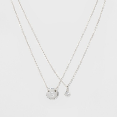 "Women's Silver Plated Letter A Initial Clear Crystal Necklace - Silver (18"") - image 1 of 3"