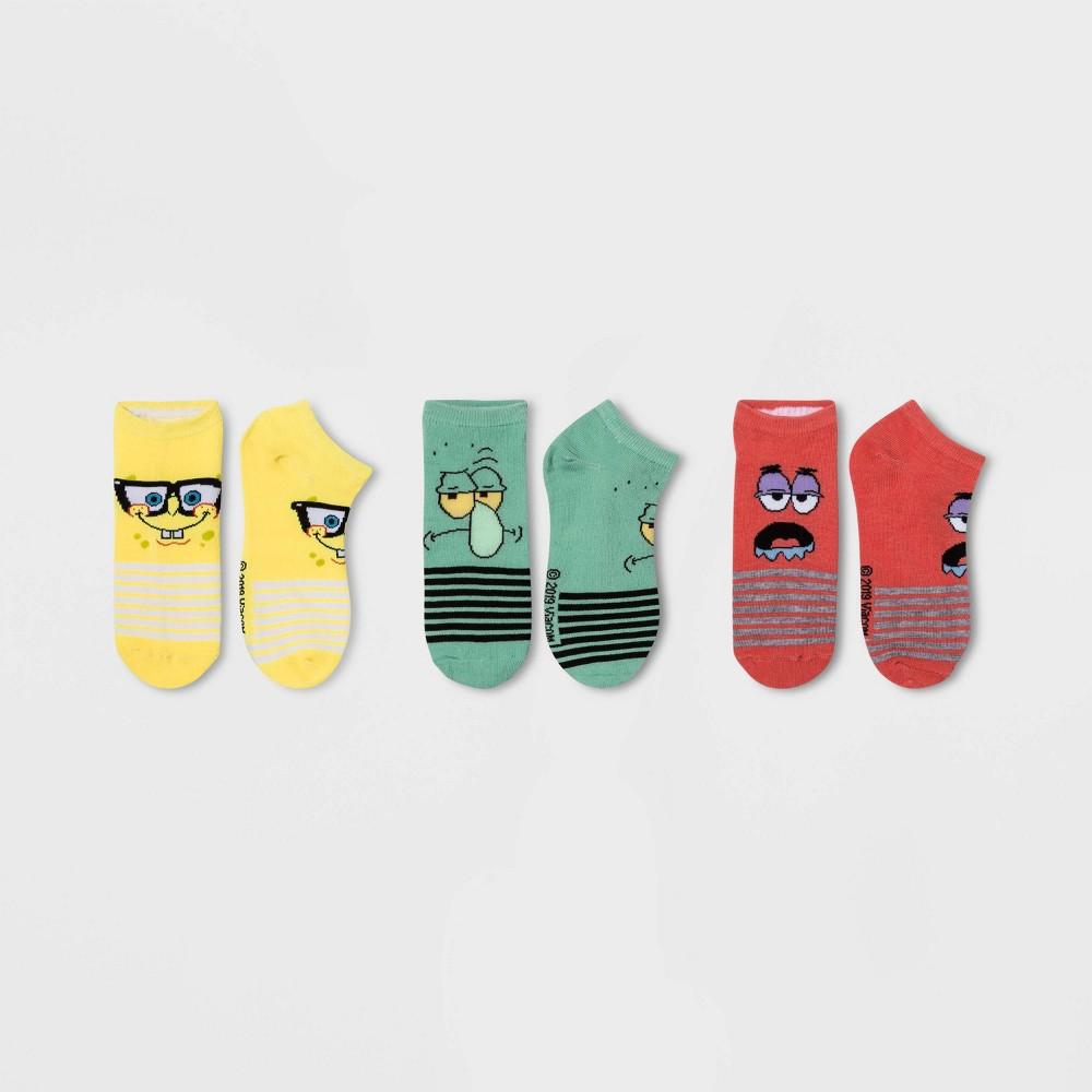 Women's 3pk SpongeBob SquarePants Low Cut Socks - Yellow/Pink/Green One Size