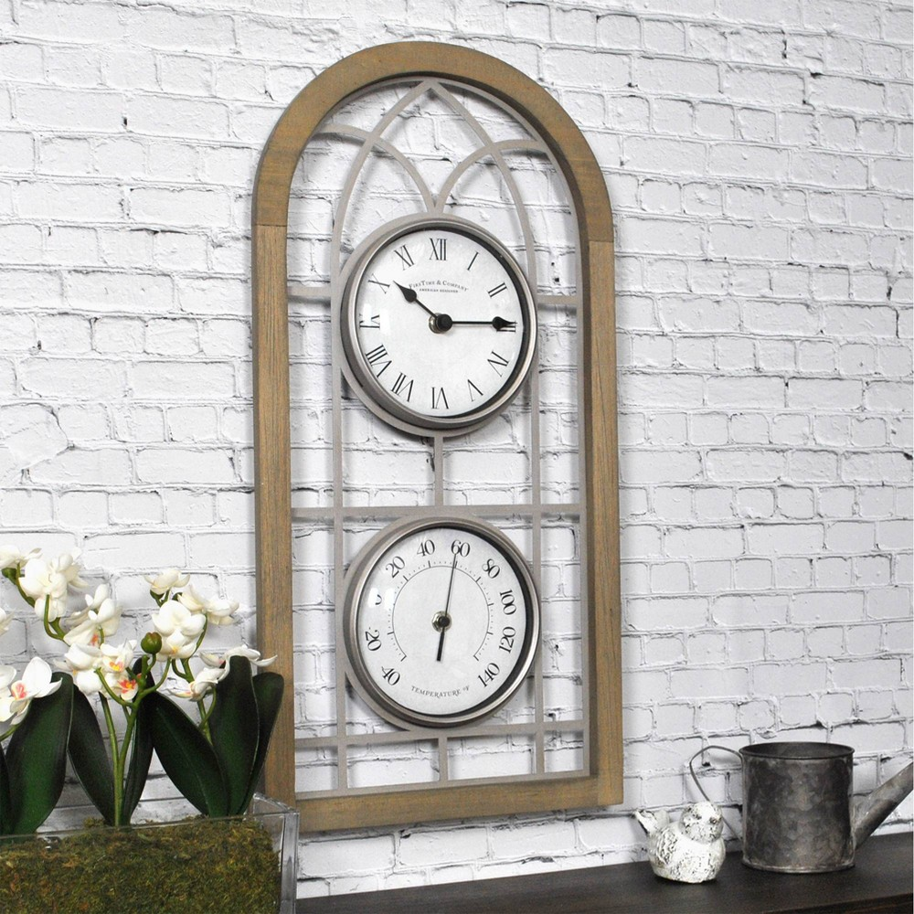 "Image of ""10"""" First Time Farmhouse Arch Outdoor Wall Clock Charcoal"""