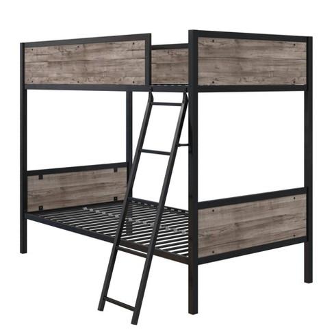 Bolzano Wood/Metal Twin Over Twin Bunk Bed Black - Room & Joy - image 1 of 4