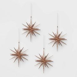 4ct Glitter Starburst Christmas Ornament Set Blush - Wondershop™