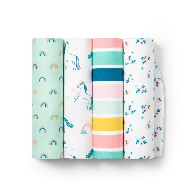Flannel Baby Blankets Unicorn 4pk - Cloud Island™ - Innovative Blue