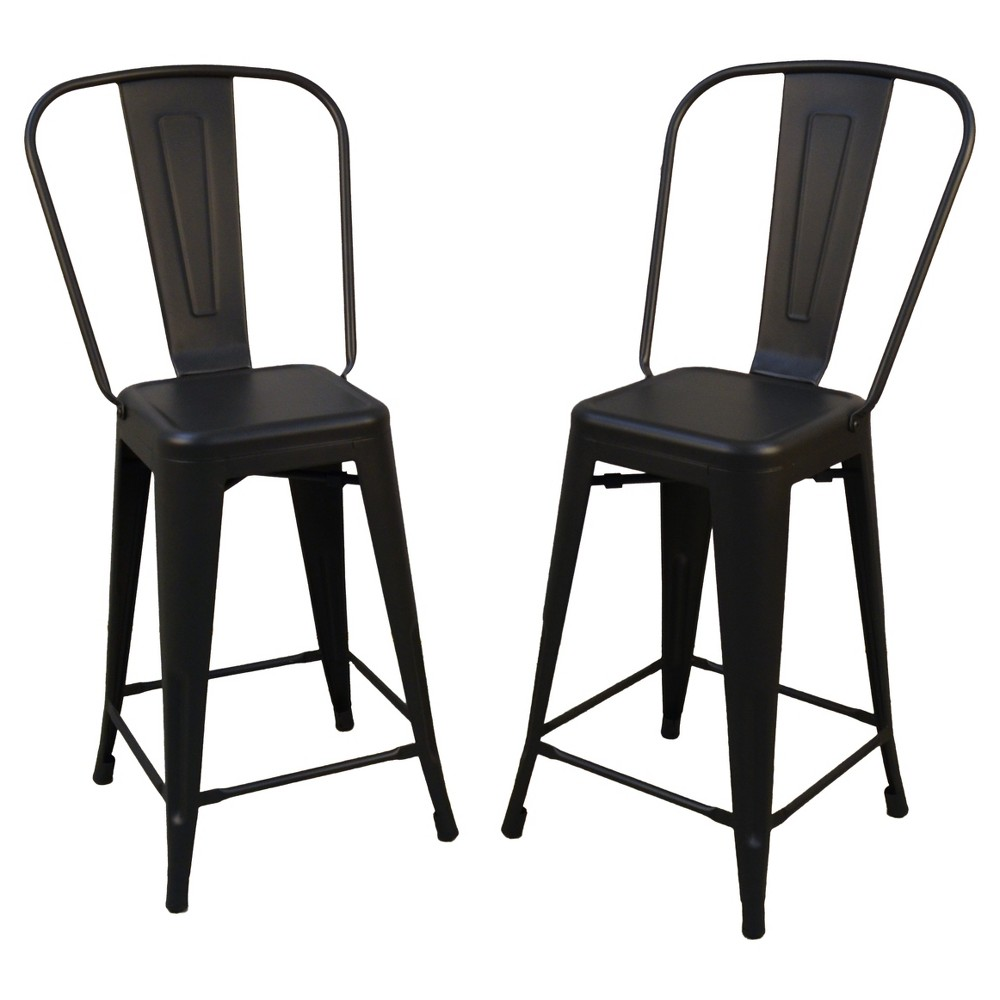 "Image of ""24"""" Sadie Set of 2 Counter Stool Black - Carolina Chair and Table"""