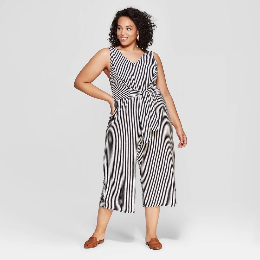 Women's Plus Size Striped Sleeveless V-Neck Tie Front Jumpsuit - Universal Thread Blue 2X