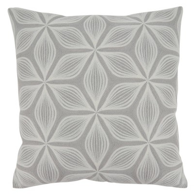 Embroidered Flower Throw Pillow Cover - Saro Lifestyle