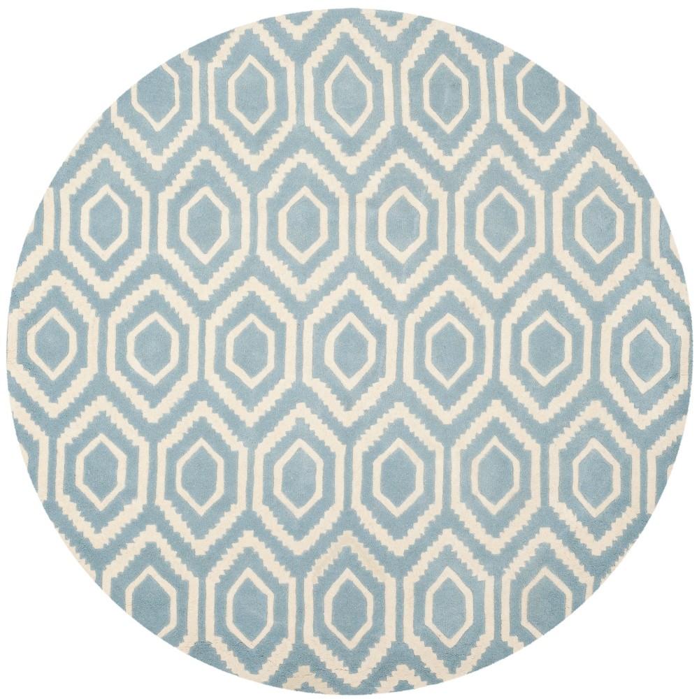 6' Geometric Tufted Round Area Rug Blue/Ivory - Safavieh