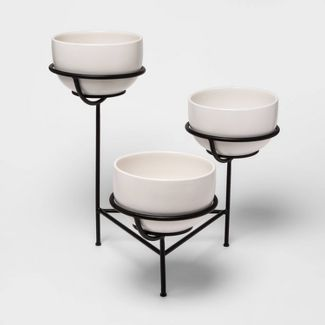 """21.5"""" x 21"""" Three-Tier Ceramic Planter in Metal Base White/Back - Project 62™"""