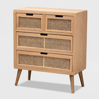 Alina Wood and Rattan 4 Drawer Accent Chest Oak - Baxton Studio
