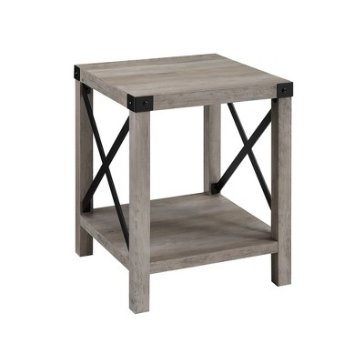 "18"" Rustic Farmhouse Metal X Frame Side Table with Wood and Metal Gray Wash - Saracina Home"