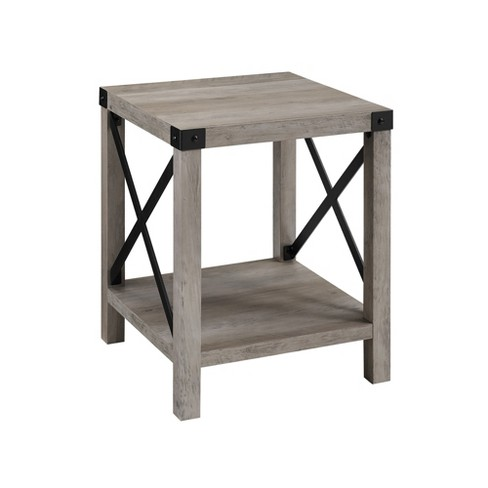 """18"""" Rustic Farmhouse Metal X Frame Side Table with Wood and Metal - Saracina Home - image 1 of 4"""