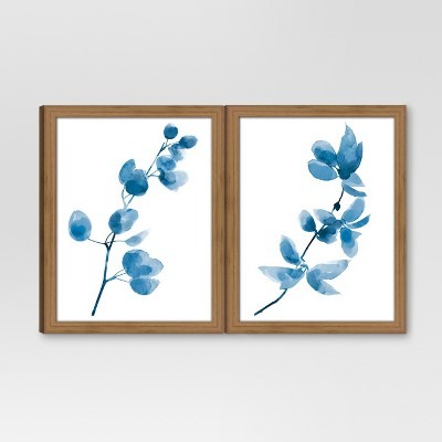Framed Watercolor Branch Blue 2-Pack 11 x14  - Threshold™