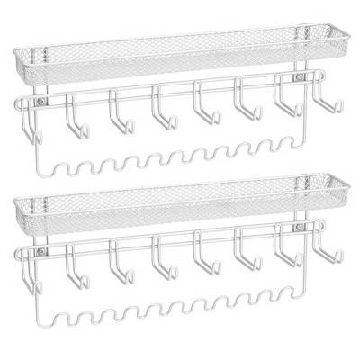 mDesign Wall Mount Jewelry Accessory Holder, 19 Hooks & Basket, 2 Pack