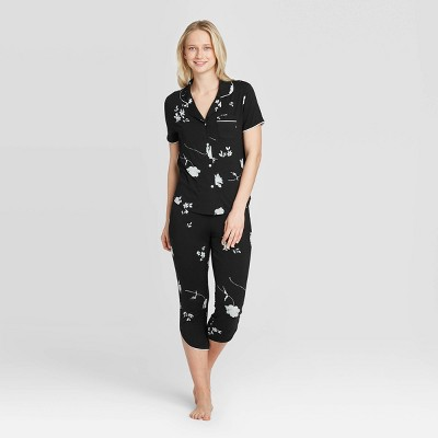Women's Floral Print Beautifully Soft Crop Notch Collar Pajama Set - Stars Above™ Black M
